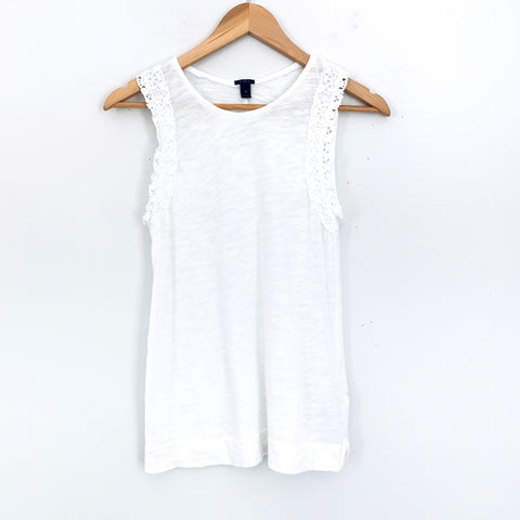 J. Crew White Tank with Eyelet Detail- Size XS