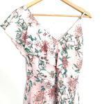 Adelyn Rae Light Pink Floral One Shoulder Faux Wrap Dress- Size XS