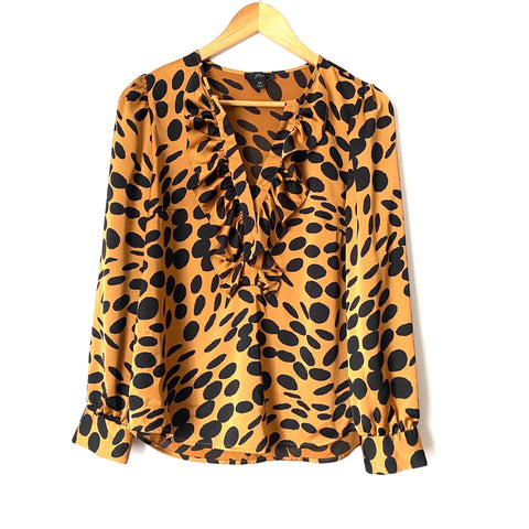 J. Crew Animal Print Ruffle V-Neck Long Sleeve Blouse- Size XS