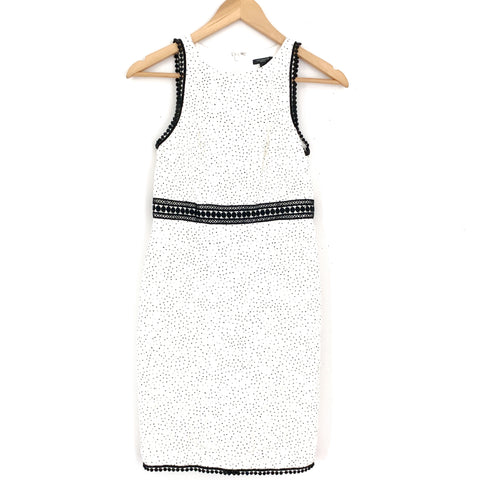 Ann Taylor White/Black Polka Dot Lace Crochet Dress- Size 00P