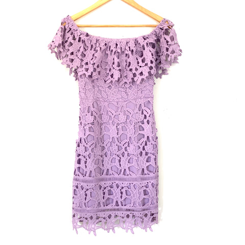 She + Sky Purple Lace Off the Shoulder Dress- Size S