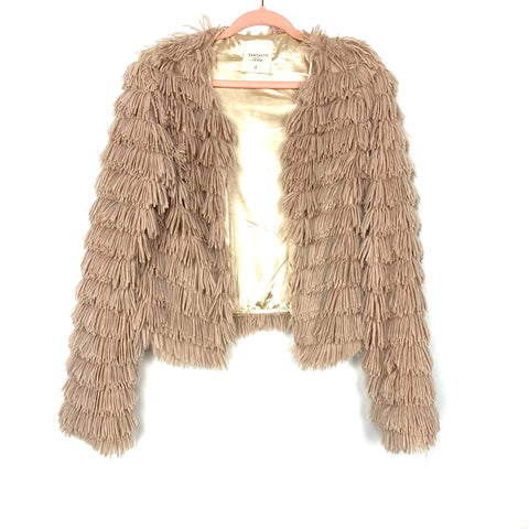 Fantastic Fawn Tan Shaggy Layered Faux Fur Jacket- Size S