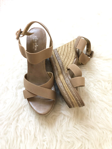 Charles by Charles David Elastic Sandal Wedge- Size 7