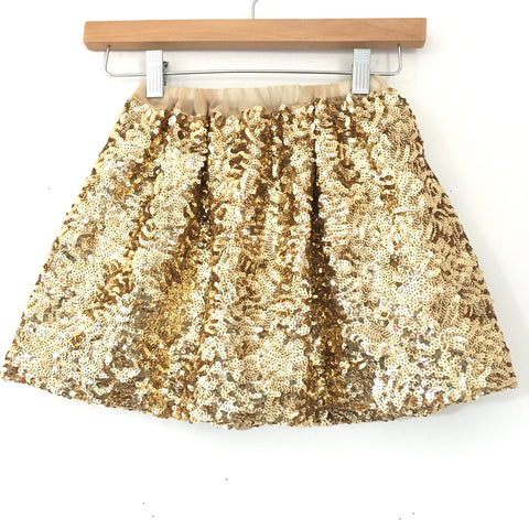Girl's Youth No Brand Gold Sequins Skirt- Size ~M (6-7)