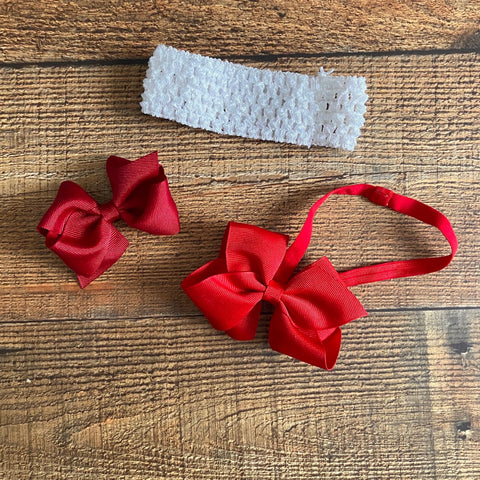 Set of 2 Baby Headbands and Red Bow