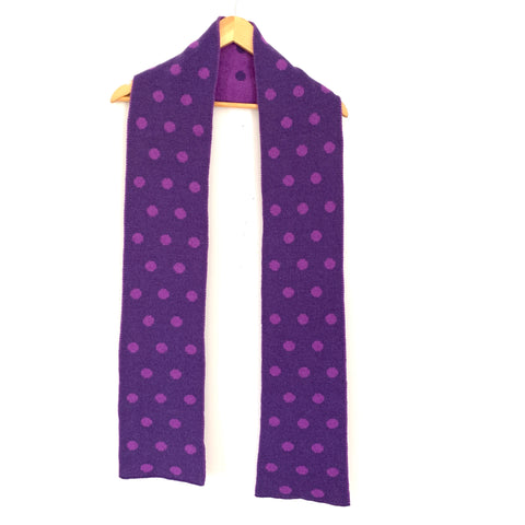Nordstrom Purple Polka Dot Wool Blend Scarf