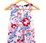 Gibson Blue, Red and Pink Floral Tie Romper- Size XS Petite