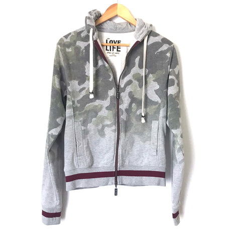 Peace Love World Grey Camo Zip-up Hoodie with Maroon Trim- Size S