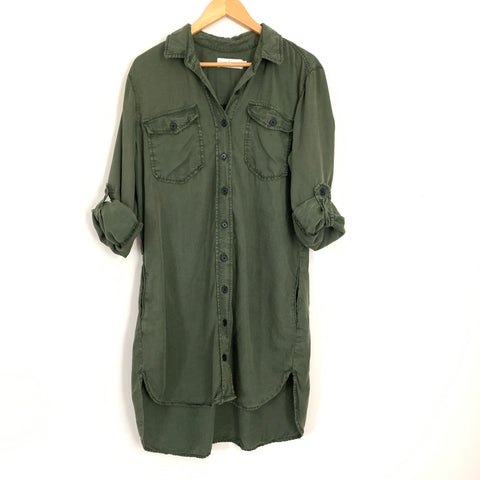 Carly Jean Los Angeles Olive Green Utility Shirt Dress- Size S