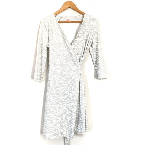 Persifor Grey/White Scales Wrap Dress- Size S