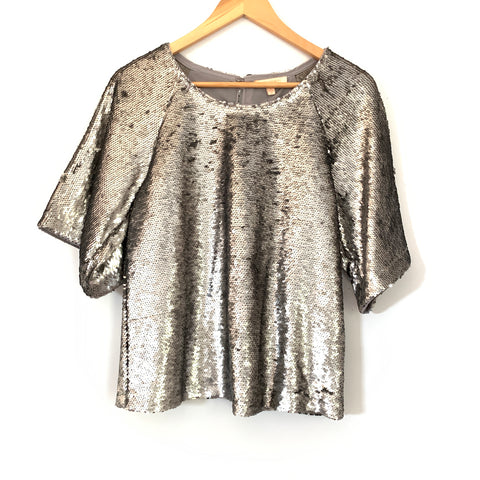 Skies are Blue Grey Sequin Blouse NWT- Size XS