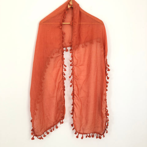No Brand Deep Orange Scarf With Tassels