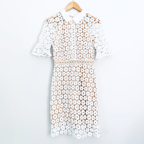 ChicWish White Lace Dress with Nude Underlay - Size S