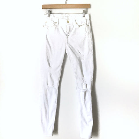 "7 For All Mankind The Ankle Skinny White Distressed Jeans- Size 26 (Inseam 27.5"") see notes"