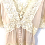 Forever 21 Nude Lace V-neck Button Detail Blouse- Size M