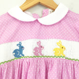 Girl's Youth Babeeni Smocked Bunny Polka Dot Dress- Size 5T