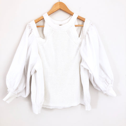 Free People White Cold Shoulder Sweater with Balloon Sleeves- Size S