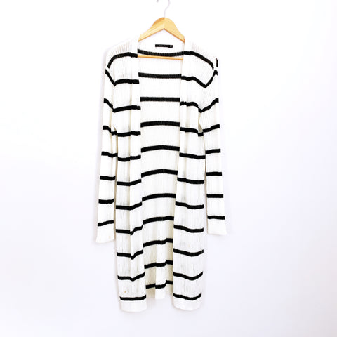 Doe & Rae White Striped Duster Cardigan- Size M