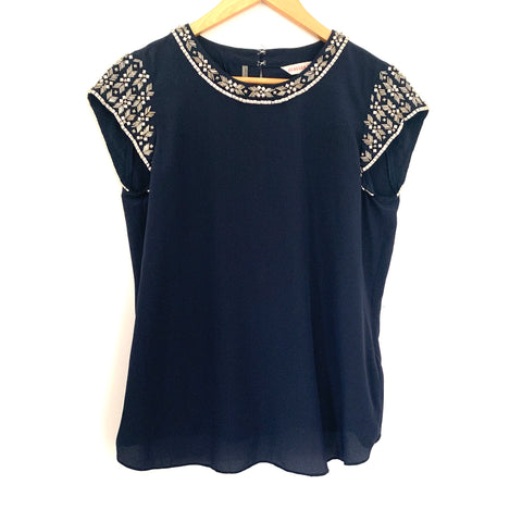 Rebecca Taylor Navy Silk Beaded Blouse- Size 0