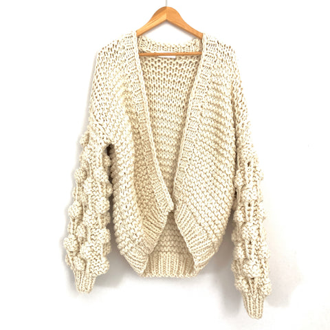 Goodnight Macaroon Cream Knit Bubble Sweater- Size ~S