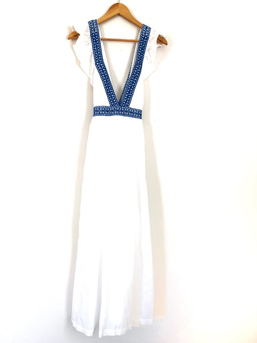 J Crew White Deep V Dress with Blue Crochet Detail NWT- Size XS