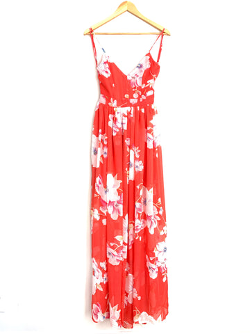 Pink Lily Orange Floral Maxi Dress- Size S
