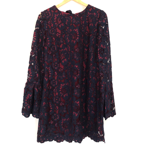 WAYF Navy Lace Dress with Red Lining Ruffle Long Sleeve NWT- Size S