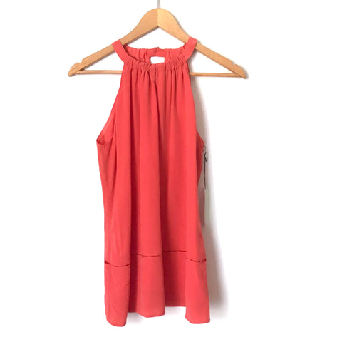 Ecru Hibiscus 100% Silk Tank with Perforated Hem NWT- Size XS