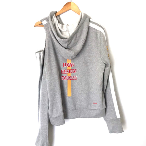Peace Love World Grey Hoodie Sweater One Shoulder Cut Out NWT- Size S