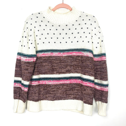 Cable Stitch Cream Chunky Mock Neck Printed and Striped Sweater- Size S