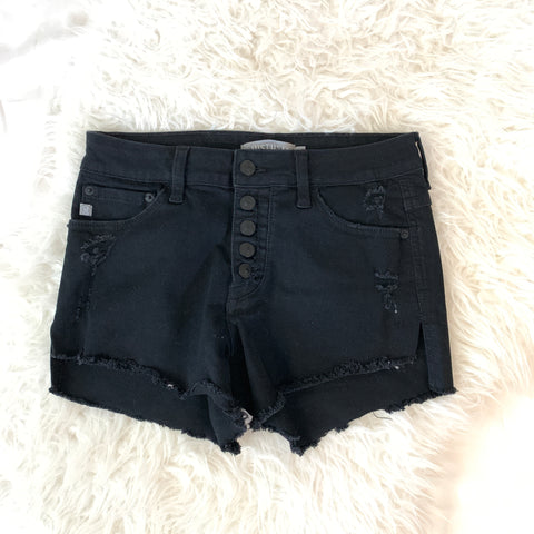JustUSA Black Distressed Button Up Denim Shorts- Size S