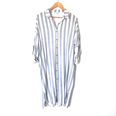Carly Jean Stripe Button Up Midi Shirt Dress- Size S