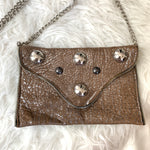 JJ Winters Metallic Pebbled Crossbody with Chain
