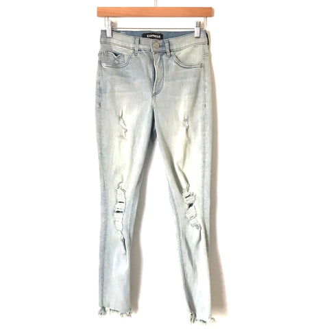 "Express Denim Perfect Stretch Ankle High Rise Distressed Light Wash Jeans- Size 2R (Inseam 26"")"