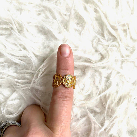 Julie Vos Gold Multi Circle Open Ring- Size 7
