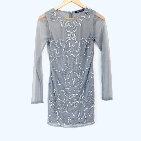 Boohoo Grey Sequin Mini Dress with Long Sleeves- Size 2