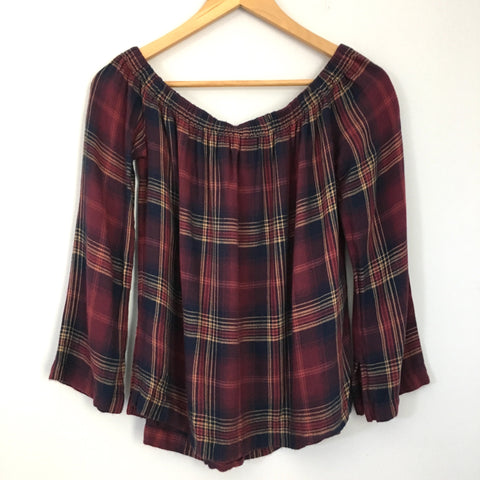 Cloth & Stone Plaid Off the Shoulder Top- Size XS