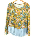Lilka Yellow Floral Pattern Blouse with Chambray Peplum - Size S
