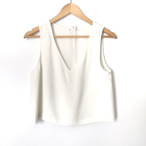 Club Monaco Ivory V-neck Crop Top- Size XS