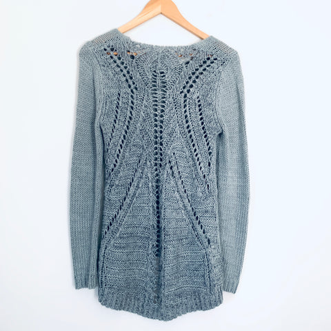 Willow & Clay Grey Tunic Sweater with Full Open Weave Back- Size XS