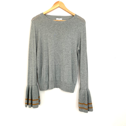 BP Grey Ruffle Sleeve Sweater with Yellow Stripe- Size M
