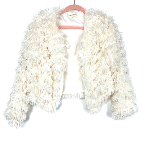 Ee:some White Shaggy Layered Faux Fur Jacket- Size S