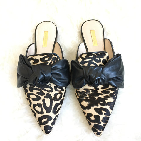 Louise et Cie Leopard Mules with Leather Bow- Size 10