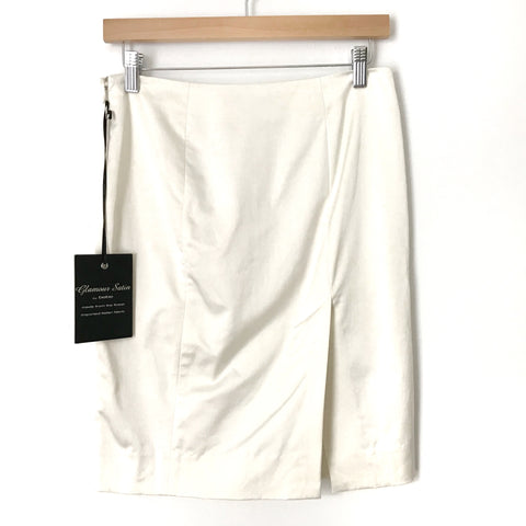 Bebe Cream Pencil Skirt with Front and Back Slit NWT- Size 2