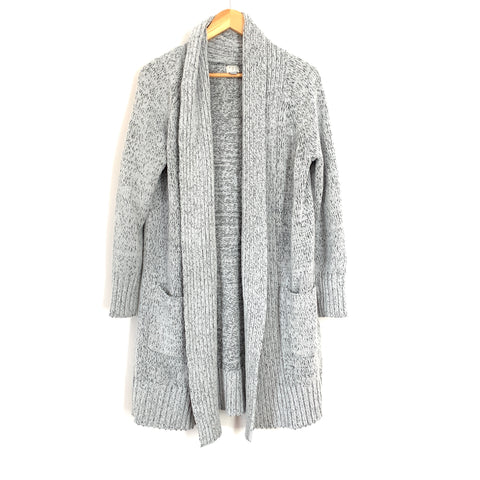 A New Day Light Grey Chenille-Like Pocket Cardigan- Size S