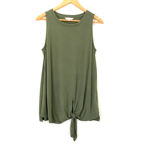 Time & Tru Olive Front Knot Tank- Size S