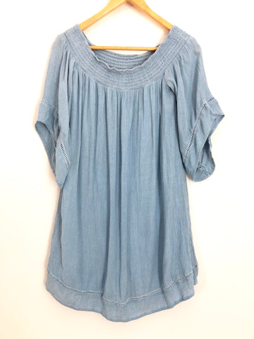Love Fire Off the Shoulder Denim-style Dress- Size XS
