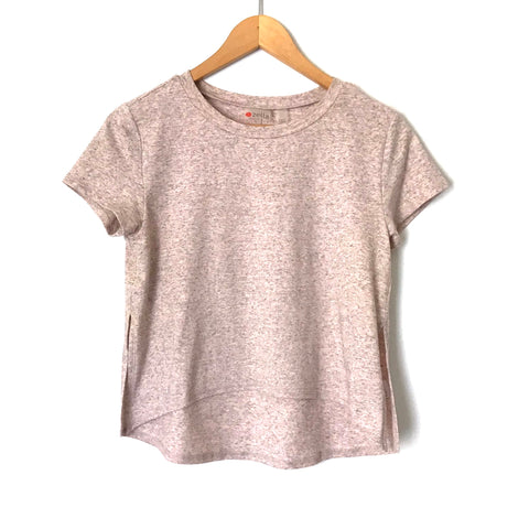 Zella Pink Heathered Pink Crop Top with Side Slits- Size XXS