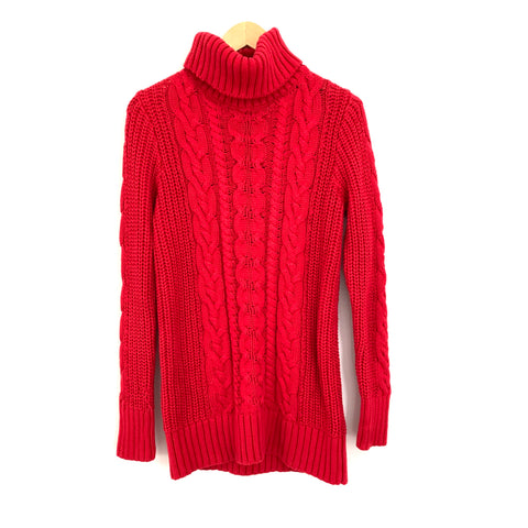 Gap Red Cable Knit Turtleneck Sweater- Size M