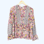 Allison Joy Pink Floral Patterned Blouse with Ruffle Cuff- Size XS